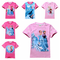 Wholesale 2014 NEW Girls blouse Cartoon Frozen T shirt Cute Anna Elsa Pattern Short Sleeve T shirt Kids Fashion Summer Clothing pc