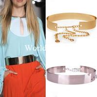 al por mayor espejo de plata plateado-Moda Mujeres Cinturón ancho Señora Full Metal Cintura Espejo Cadenas placa metálica de la pretina de la correa de Oro / Plata Nuevos