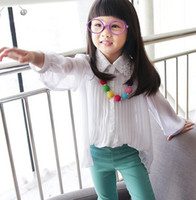 Girl girls white shirts - 2014 New Arrival Children Girls White Lace Lapel Collar Half Sleeve Chiffon Shirt Kids White Flatter Ruffles Tops Wear B3449