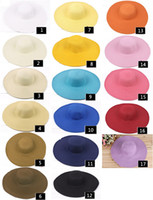 Wholesale 2014 HOT SALE Colors Chic Women s Wide Large Brim Summer Beach Sun Hat Ladies Fashion Straw Derby Cap