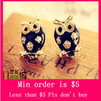 Wholesale Min Order Mix Jewelry order Retro Vintage Owl Hollow Drip Cute Mini Earrings E2077