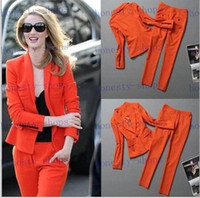 Women Pant Suit Casual Brand New Europe and America autumn and winter star of the same high-end custom models fashion Slim Jacket + pants two-piece suits for women