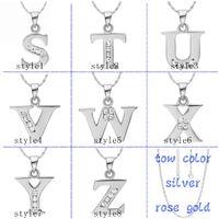Pendant Necklaces alphabet chain necklace - 925 silver necklace K gold pendants CZ alphabet S Z pendant without chain fashion necklaces for women