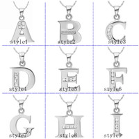 Wholesale 925 silver necklace K gold pendants CZ alphabet A I pendant without chain fashion necklaces for women