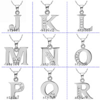 Wholesale 925 silver necklace K gold pendants CZ alphabet J R pendant without chain fashion necklaces for women