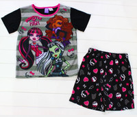 Wholesale 2014 Monster High Kids Pajamas Summer Clothing Set Zombie Girl Cartoon Casual Cotton Homewear Pyjamas Sleepwear