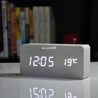 Wholesale Top Quality Alarm Clocks with Thermometer Table Clocks Big numbers Digital Clock Wood Wooden Clocks LED display