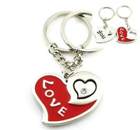 Wholesale Love red heart shaped lovers alloy key ring a couple keychain advertising gifts Birthday present Valentine s Day