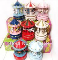 Wholesale Popular Birthday gift handmade wooden carousel music box The octave wood music box