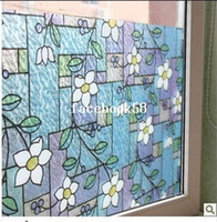 Wholesale No glue static glass film Sun insulation window sticker affixed grilles bathroom color printing