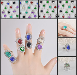 New Retro Fashion Design Crystal Ring With Gemstone Silver Rings Jewelry Cheap Mix Wholesale Free Shipping