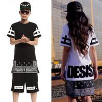 Wholesale 2014 T shirt Skirt Dress men women lover Short Sleeve Zipper Hip Hop HipHop Tee T shirt Brand CEASE DESIST HBA black white red