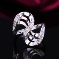 Wholesale MSF brand JZ010 bestselling sterling silver luxury zircon crystal platinum plated female rings ring jewelry