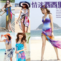 Wholesale Hot Women Scarf Fashion Sexy Halter Ladies Sarong Bikini Beachwear Cover Up Beach Wrap Pareo Dress Skirts