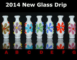 Wholesale New Arrival Glass Drip Tips HandPainted Flower Vase Style Drip Fit EGO Stainless Steel Metal DCT Wax Acrylic Clearomizer EGO Mouthpiece