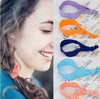 Wholesale 2016 Hollywood star hair band Macaron Color Knotted Elastic Ribbon Hair Ties Wristbands For Girls and Women Ponytail Holder Hair Accessories
