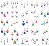 Wholesale 925 silver necklaces Swarovski Elements Austrian crystal plating platinum necklace pendant Optional style color