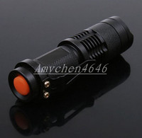 Cheap Mini LED Torch 7W 300LM CREE Q5 LED Flashlight Adjustable Focus Zoom flash Light Lamp free shipping