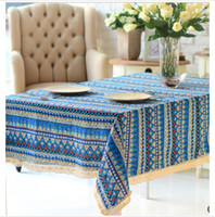 Wholesale 5 cotton and linen coolest ethnic tablecloth table decorating fabrics blue red green home textiles