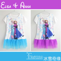 Wholesale Anna Dress Girls Frozen Short Dress Elsa Anna fashion Cartoon Kids Girl Print T Shirt Brand Hot Sale Retail new Summer Children
