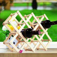 Wholesale Folding wine rack alcohol care drink bottle holders solid color wood shelf