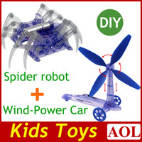 Wholesale Top sales high teach DIY Spider robot and Green Environmental protection DIY Wind Power Car science and education kids toys gifts xmas