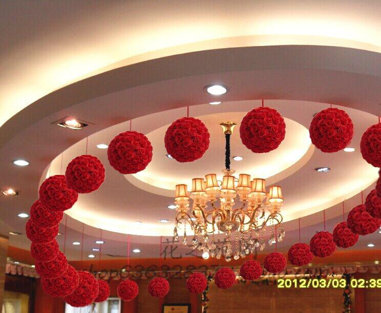 2017 2015 Hot Sale 20cm Artificial Silk Roses Wholesale Red Color Rose Balls Wedding Party