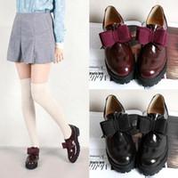 Wholesale Fashion Korean Women bowknot thick heel Platform faux leather single shoes non slip round toe preppy style shoes P141