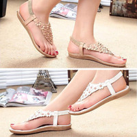 Wholesale salebags New Women s Summer Bohemia Flower Sandals Elastic Band Clip toe beading slippers flat shoes P150