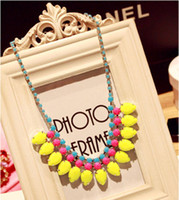 Wholesale Fluorescent Rose Red Yellow Water Drop Pendant Necklace Alloy Acrylic Chunky Necklace