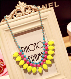 Fluorescent Rose Red Yellow Water Drop Pendant Necklace Alloy Acrylic Chunky Necklace