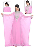 Reference Images Jewel/Bateau Chiffon Buy 2014 Arabic Evening Gowns Pink Beaded High Collar Long Sleeve Evening Dresses Chiffon Dubai Abaya Dubai Kaftan Long Formal Dresses