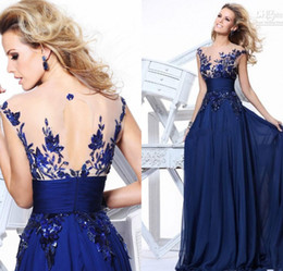 Wholesale Hot sale A Line zuhair murad Navy Blue Chiffon Fold Long Backless Evening Dresses with Floral Lace Sheer Neckline