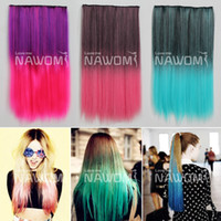 Wholesale Discount clips in hair pieces colored colorful straight quot high temperature synthetic hair extension