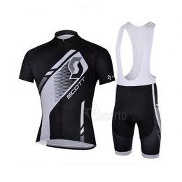 Wholesale Cycling Jersey Sets SCOTT BicycleTeam Wear Bike Clothing Bicycle Short Sleeve Jersey Bib Shorts Black