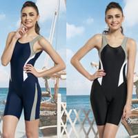 Wholesale new Swimwear women one piece sports professional knee length pants big small push up fashion normic swimsuit