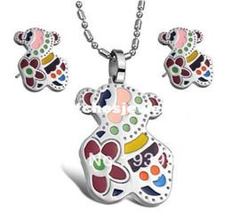 $5.10/set Marca de joyas de acero inoxidable conjunto,el oso de DISEÑO de joyas ,el esmalte de joyas de plata de diseño de conjunto de CS047