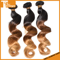 100g Peruvian Hair Ombre Color Hot! New Ombre Hair 6A Peruvian Virgin Loose Wave Hair 3pcs 4pcs Lot 100% Unprocessed Hair Weft Three Tone Color 1B 4 27 No shed And Tangle