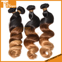 Cheap Hot Selling Colored Hair Weft on DH Gate 6A Human Hair Extension Loose Wave Three Tone Ombre Hair 1B 4 27 Peruvian Remy Hair Weavings