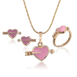 Wholesale Baby Girls Jewelry Sets Children Gifts K Gold Plated Cupid Heart Jewelry Set Pendant Necklace Earrings S18K