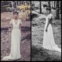 A-Line Reference Images V-Neck Vintage Floor Length V Neck Wedding Dresses 2014 Long Boho Hippie Chiffon A Line Lace Cap Sleeve Bridal Gown TrainRobe De Soiree