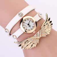 Wholesale 2014 New Colors Fashion Rhinestone Leather Wristband Wrap Around Bracelet Watch Crystal Wings Women s Quartz Wristwatches High Quality