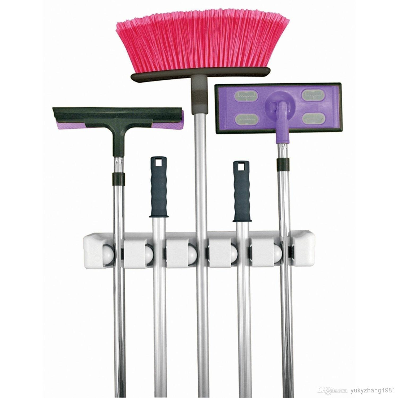 Mop Closet : Garage Closet Kitchen Wall Broom Mop Holder Garden Tools Organizer 5 ...