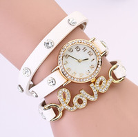 Wholesale 2014 New Rhinestone Color Leather Wristband Wrap Around Bracelet Watch Fashion Crystal Love Women s Quartz Wristwatches Vintage Bracelet
