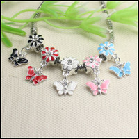 Wholesale 50PCS Mix color Crystal Enamel butterfly Big Hole Charm Dangle Beads fit European Bracelet jewelry findings