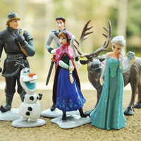 Multicolor PVC play set Wholesale - Free Shipping 6pcs set Frozen Figurine Play Set Doll Anna Elsa Hans Kristoff Sven Olaf PVC Action Figures Toys Classic Toys