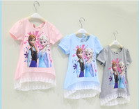 TuTu Summer Pleated baby girl girls frozen dress Elsa Anna princess printed long t-shirt tee children summer short sleeve lace falbala dress pink blue gray