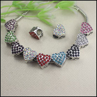 Wholesale 50PCS Rhinestones Crystal Heart shape Big Hole Charm Dangle Beads fit European Bracelet jewelry findings