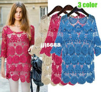 Women Cotton Hollow Out shirt 2014 summer plus size crochet cutout lace top hook cutout blusa de renda for women