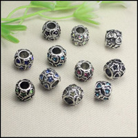 Wholesale 50PCS Antique Silver tone Crystal Big Hole Charm European Beads for making Bracelet jewelry findings x11mm
